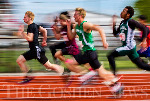 JAY YOUNG   THE GOSHEN NEWS<br /> NorthWood's Landon Parker leaps out in front as he competes in the 100 meter dash trials during the 75th running of the Goshen Relays Saturday at Goshen High School.