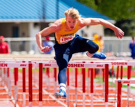 JAY YOUNG | THE GOSHEN NEWS<br /> Fairfield's Connor Kitson clears a hurdle while competing in the finals of the 110 meter high hurdles during the 75th running of the Goshen Relays Saturday at Goshen High School.