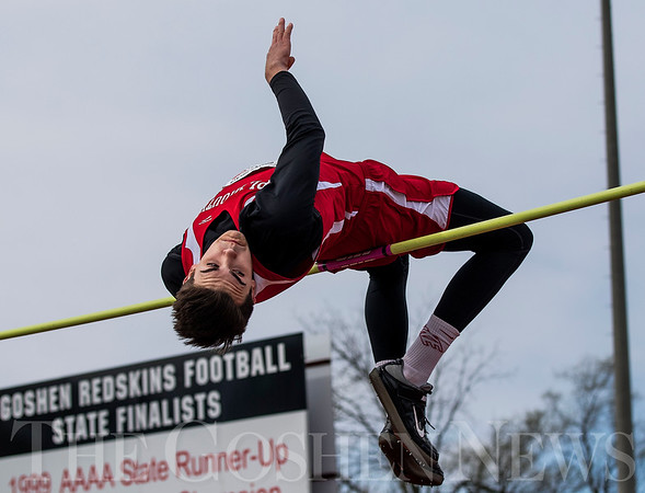 JAY YOUNG   THE GOSHEN NEWS<br /> Plymouth's Nate Patterson competes in the high jump during the 75th running of the Goshen Relays Saturday at Goshen High School.