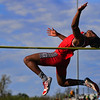 JAY YOUNG | THE GOSHEN NEWS<br /> Goshen High's Rummel Johnson soars through the air as he competes in the high jump event at the 47th annual Kelly Relays Friday evening at Concord High School.