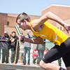 SAM HOUSEHOLDER   THE GOSHEN NEWS<br /> Northridge runner Darian Johnson takes off during a relay race Saturday.
