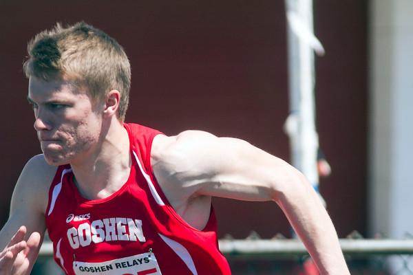 SAM HOUSEHOLDER   THE GOSHEN NEWS<br /> Goshen runner Joey Rockwood takes off during a relay race Saturday during the 72nd running of the Goshen Relays.