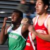 SAM HOUSEHOLDER | THE GOSHEN NEWS<br /> Concord sprinter My'Cole McGee runs against Goshen's Alfredo Vasquez Thursday during the meet.