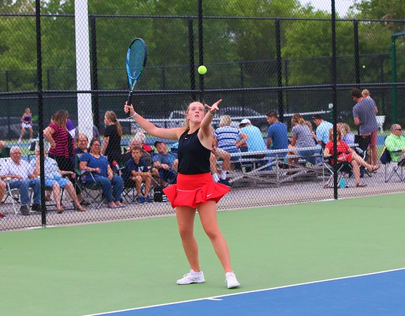 Westview No. 2 singles player Madeline Stults serves during Tuesday's regional semifinals at Northridge High School in Middlebury.