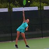 Northridge's No. 2 singles player Lilah Dean serves during Thursday's Sectional 47 final against Elkhart at Northridge High School in Middlebury.