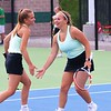 Concord No. 2 doubles players Margaret Burkert, right, and Addison May celebrate during Wednesday's Sectional 47 semifinals at Northridge High School.