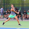 Northridge's Lilah Dean looks to return a serve from Concord's Claire Steele during No. 2 singles action in Wednesday's Sectional 47 semifinals at Northridge High School.