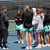The Northridge girls tennis team huddles up for the final time of the season after losing to Homestead, 3-2, in a semistate match Saturday at Homestead High School in Fort Wayne.