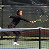Northridge No. 3 singles player Maia Schmucker extends to try and hit a ball during her semistate match against Homestead Saturday at Homestead High School in Fort Wayne.