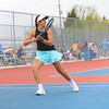 Fairfield's Faith Bontrager looks on after sending a backhand over the net during No. 2 singles action at the NECC Tournament on Saturday at West Noble High School.