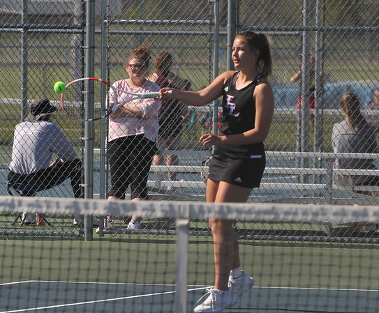 Lakeland junior Brooklynn Olinger hits a return shot during her No. 3 singles match in the first round of the NECC girls tennis tournament Thursday in LaGrange.