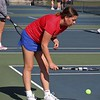 West Noble sophomore Avery Kruger goes through her pre-serve routine during her No. 1 singles match in the first round of the NECC girls tennis tournament Thursday in LaGrange.