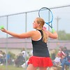 Westview's Madeline Stults prepares to serve during No. 2 singles play at the NECC Tournament finals in Ligonier on Saturday.