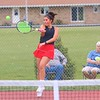 Westview's Hallie Mast returns a ball during No. 1 doubles play in the NECC Tournament finals at West Noble High School on Saturday.