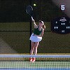 Wawasee sophomore Kiah Farrington serves the ball during her No. 1 singles match against Goshen senior Lucy Kramer at the NLC Tournament Wednesday in Nappanee.