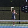 Concord senior Maddie Copsey serves the ball during her No. 3 singles match against Wawasee junior Kaitlynn Jackson during the NLC Tournament Wednesday in Nappanee.
