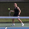 NorthWood freshman Britton Jesse goes to hit the ball during her No. 2 singles match against Concord junior Clare Steele during the NLC Tournament Wednesday in Nappanee.