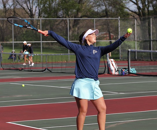 Fairfield freshman Addison Mast goes to serve the ball in her match against Westview Thursday in Goshen.