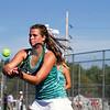 SAM HOUSEHOLDER   THE GOSHEN NEWS<br /> Northridge doubles player Emily Erekson hits the ball Wednesday during the sectional match at Elkhart Central High School.