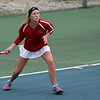 STEPHEN BROOKS   THE GOSHEN NEWS<br /> Goshen senior Ali Miller prepares to hit a forehand in the No. 1 doubles match of Tuesday's home meet against NorthWood. NorthWood won 4-1.