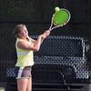 SAM HOUSEHOLDER   THE GOSHEN NEWS<br /> Northridge No. 1 singles player Emily Hughes returns a ball Thursday during the match against Plymouth at Northridge High School.