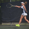 HALEY WARD   THE GOSHEN NEWS<br /> Fairfield No.1 singles player Emily Mast hits a forehand in the Regional Championship match against Elkhart Memorial on Wednesday at Elkhart Central High School. Mast lost 6-7, 6-7 in the 2-3 Fairfield loss.
