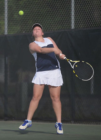 HALEY WARD   THE GOSHEN NEWS<br /> Fairfield No.3 singles player Margie Stutzman hits a forehand during the Regional Championship match against Elkhart Memorial on Wednesday at Elkhart Central High School. Mast won 6-0, 6-1 in the 2-3 Fairfield loss.