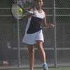 HALEY WARD   THE GOSHEN NEWS<br /> Fairfield No.2 doubles player Atlanta Swank hits a forehand in the Regional Championship match against Elkhart Memorial on Wednesday at Elkhart Central High School. Fairfield lost 2-3.