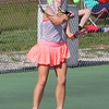STEPHEN BROOKS | THE GOSHEN NEWS<br /> NorthWood junior Hannah Walter hits a forehand shot during the No. 2 singles match of Wednesday's sectional opener against Goshen. NorthWood won 5-0 to advance to the sectional semifinals.