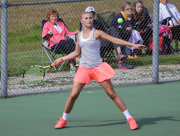 STEPHEN BROOKS   THE GOSHEN NEWS<br /> NorthWood sophomore Kennedy Wiens loads up for a forehand shot during the No. 1 doubles match of Wednesday's sectional opener against Goshen. NorthWood won 5-0 to advance to the sectional semifinals.