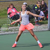 STEPHEN BROOKS | THE GOSHEN NEWS<br /> NorthWood sophomore Kennedy Wiens loads up for a forehand shot during the No. 1 doubles match of Wednesday's sectional opener against Goshen. NorthWood won 5-0 to advance to the sectional semifinals.