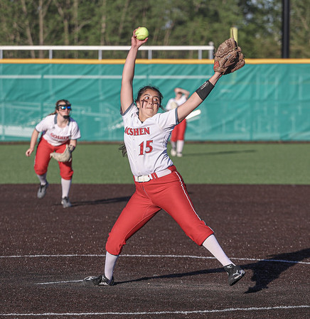 Goshen junior Liz Ramirez handles pitching duties during Wednesday evening's softball sectional semi-final game against Elkhart.