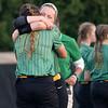 Northridge's catcher Tavia Bratt (16)  and her teammate outfielder Alexia Sigman (3) react after Tuesday's regional game at Penn High School in Mishawaka.