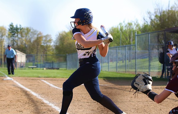 Fairfield's Mackayla Stutsman prepares to swing early in Tuesday's NECC Tournament game against Central Noble in Albion.