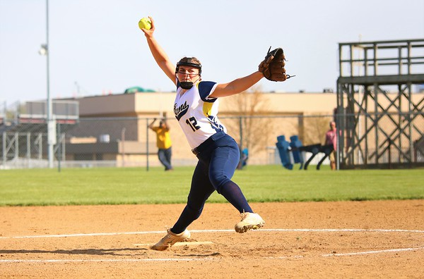 Fairfield starting pitcher Brooke Sanchez winds up from the circle early in Tuesday's NECC Tournament game between the Falcons and Central Noble at Central Noble High School in Albion.