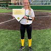 Northridge senior Maddie Wienert was presented with a commemorative plaque for recording her 100th career stolen base during Monday's 8-0 win over Mishawaka in Middlebury. Wienert now has 101 career stolen bases in three varsity seasons.