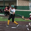Northridge senior Makena Knepp swings at a pitch that would ultimately bring in two runs for her team in the third inning of Monday's game against Mishawaka in Middlebury.