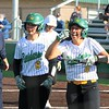 Northridge's Makenna Knepp (4) celebrates after blasting a solo home run over the fence in right field to tie the game against Penn during Tuesday's contest at Northridge High School in Middlebury.