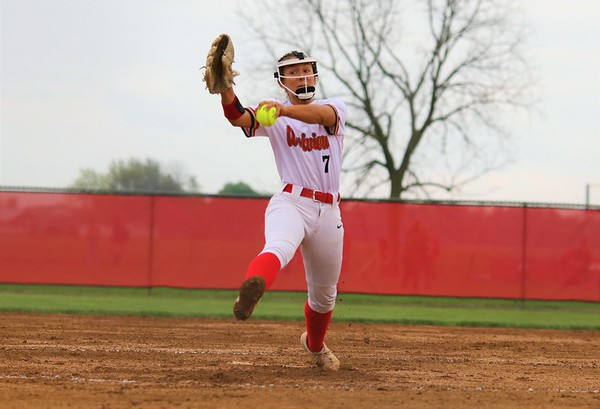 Westview's Alexys Antal winds up from the circle during Monday's NECC Tournament final against Prairie Heights at Westview High School in Topeka.