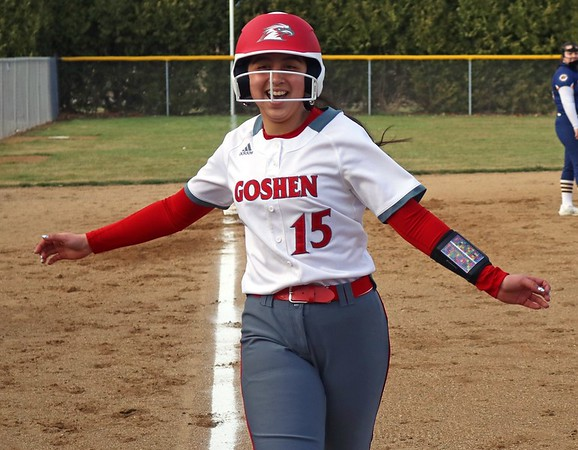 Goshen junior Liz Ramirez is all smiles after hitting a 2-run homerun in the first inning of the RedHawks' 19-1 win over South Bend Riley Monday in Goshen.