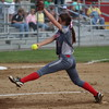 GREG KEIM | THE GOSHEN NEWS<br /> Sophomore pitcher Kate Atkinson of Goshen fires a pitch for the Redskins Wednesday in the Class 4A softball sectional at Elkhart Memorial.