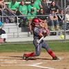 GREG KEIM | THE GOSHEN NEWS<br /> Goshen senior Brooke Miller slaps a single in the first inning of the Class 4A softball sectional Wednesday at Elkhart Memorial.