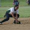HALEY WARD   THE GOSHEN NEWS<br /> Wawasee senior Allissa Flores grabs the ground ball during the 3A Sectional Championship on Thursday at Fairfield High School. Fairfield defeated Wawasee 1-0.