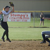 HALEY WARD   THE GOSHEN NEWS<br /> Wawasee senior Kylee Rostochak catches the ball to tag Fairfield freshman Lyndsey Bradley during the 3A Sectional Championship on Thursday at Fairfield High School. Fairfield defeated Wawasee 1-0.