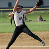 HALEY WARD   THE GOSHEN NEWS<br /> Wawasee junior Meghan Fretz pitches in the 3A Sectional Championship on Thursday at Fairfield High School. Fairfield defeated Wawasee 1-0.
