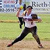 STEPHEN BROOKS   THE GOSHEN NEWS<br /> NorthWood junior second baseman Summer Stillson looks to throw to first base during Tuesday's 3A sectional semifinal against Wawasee at Fairfield High School. Wawasee won 12-1 to advance to the sectional championship.
