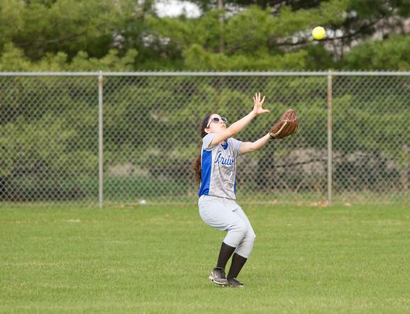 SAM HOUSEHOLDER | THE GOSHEN NEWS<br /> Bethany Christian senior Mallory Bontreger catches a fly ball during the game against Westview Friday.