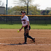 GREG KEIM | THE GOSHEN NEWS<br /> Senior Taylor Troxel releases a pitch for the NorthWood Panthers in an NLC softball game with Concord Thursday night at Stauffer Park in Nappanee.