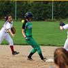 STEPHEN BROOKS | THE GOSHEN NEWS<br /> Goshen senior Emily Castillo, left, flips the ball to teammate Caitlyn Doyle, a junior, at second base during Friday's game against Concord at Shanklin Park. Goshen won 4-3.