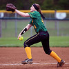 GREG KEIM | THE GOSHEN NEWS<br /> Sophomore pitcher Sami Deisler delivers a pitch for the Northridge Raiders in an NLC high school girls softball game against the Northridge Raiders Thursday in Middlebury.